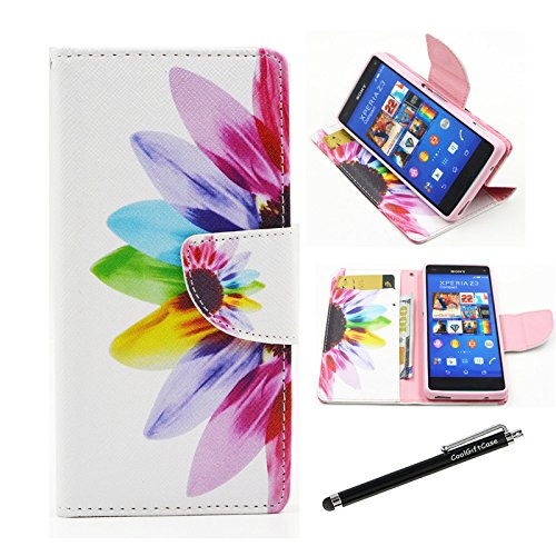 Xperia Z3 Compact Case, Sony Xperia Z3 Compact Case - Colorful Sunflower Pattern Premium PU Leather Wallet Case Stand Cover with Card Slots Cash Compartment for Sony Xperia Z3 Compact (Z3 mini) + CoolGiftCase Stylus