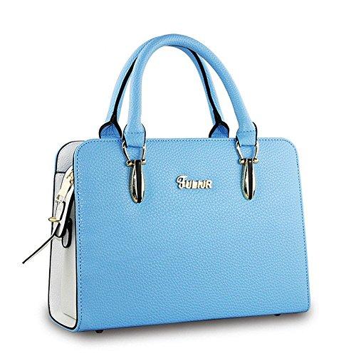 qckj Fashion Cruz Cuerpo Bolsa De Hombro Mujeres PU Línea de Soild Lychee Bolso de mano Azul