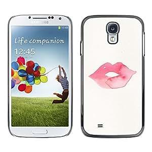 [Neutron-Star] Snap-on Series Teléfono Carcasa Funda Case Caso para Samsung Galaxy S4 [Labios del beso minimalistas Rosa]