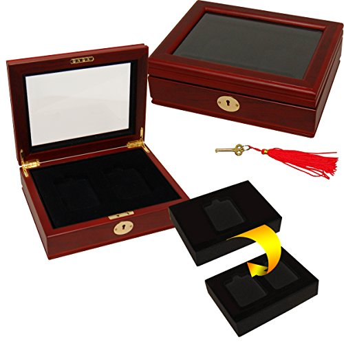- Wood Oak Beveled Glass top Display Box for 1 or 2 Certified/Graded Coins
