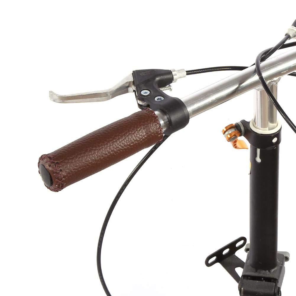 Alomejor Pu/ños de Bicicleta de Cuero Pu/ños de Bicicleta Artificial Cuero Costura Empuje en los pu/ños del Manillar para Bicicleta de monta/ña Bicicleta de Carretera