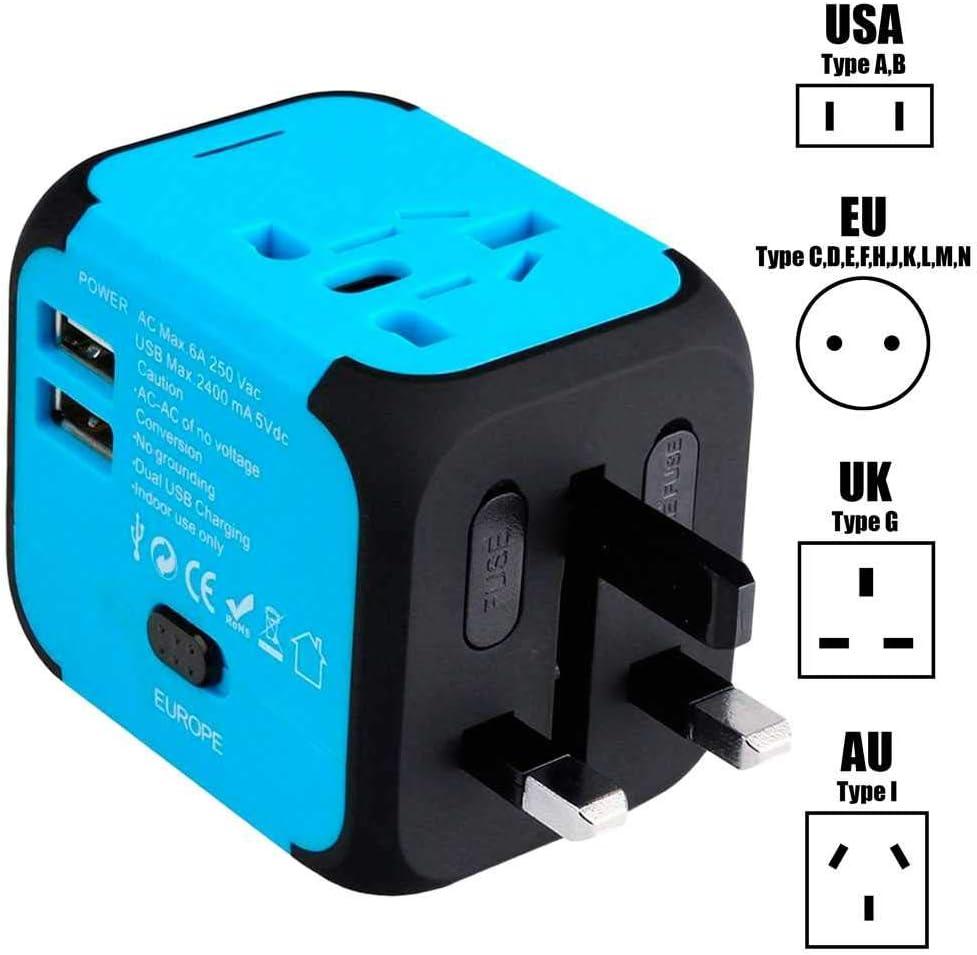 OcioDual Adaptador Enchufe Pared de Viaje Universal con 2 Puertos USB para USA US EU UK AU Tipo A B C E F G I de 150 Países Azul: Amazon.es: Electrónica
