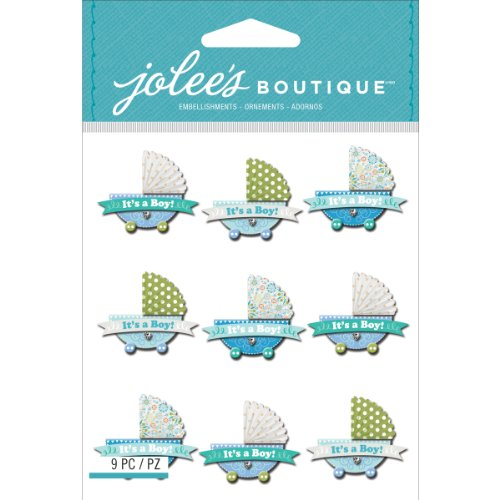 Jolee's Boutique Dimensional Stickers, Baby Boy Stroller Repeats