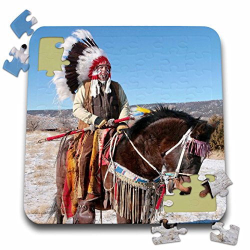 Danita Delimont - Native American - Native American Indian, Alcalde, New Mexico - US32 JMR0305 - Julien McRoberts - 10x10 Inch Puzzle (Horse Indian Costume)