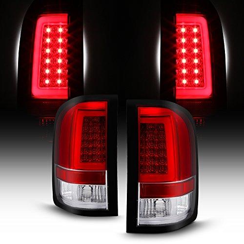 For 2007-14 Chevy Silverado Full LED Daytime Running Lamp Bar Tail Lights Chrome Housing Red Clear Lens Full Set
