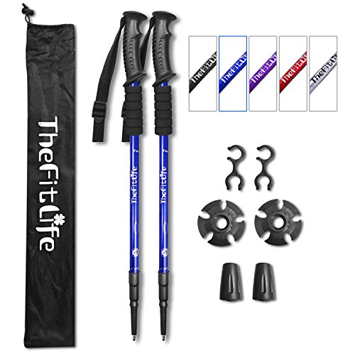 TheFitLife Nordic Walking Trekking Poles - 2 Packs with Antishock and Quick Lock System