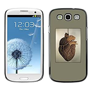 TopCaseStore / la caja del caucho duro de la cubierta de protección de la piel - Heart Anatomy Human Drawing Art Painting - Samsung Galaxy S3 I9300