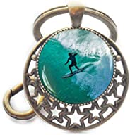 Surf Keychain, Surfing Key Ring, Surf Riding Keychain, Go Surfing Keychain, Gone Surfing, Ocean Keychain, Surf