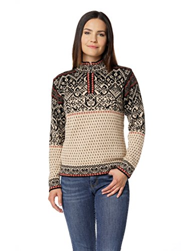 Invisible World Women's 100% Alpaca Wool Sweater Half-Zip Norwegian Pullover Md White