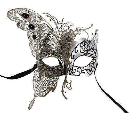 KAYSO INC The Butterfly Goddess Elegant Venetian Laser Cut Masquerade Mask (Silver)