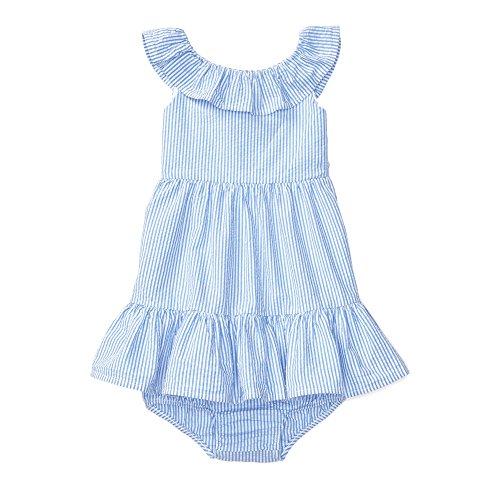 Ralph Lauren Baby Girls Seersucker Dress & Bloomer Set Blue/White (9 Months)