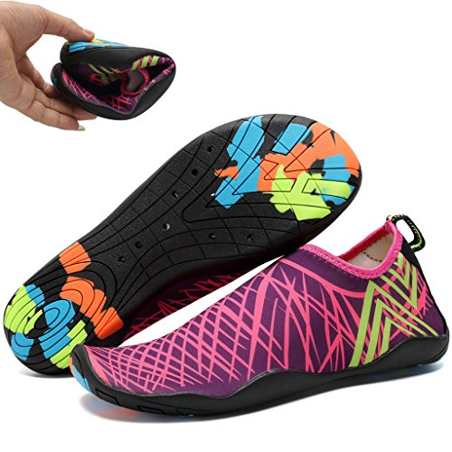 WALUCAN Water Shoes Barefoot Quick-Dry Aqua Sports For Yoga Beach Driving Walking For Men and Women X.purple 7etcmxR