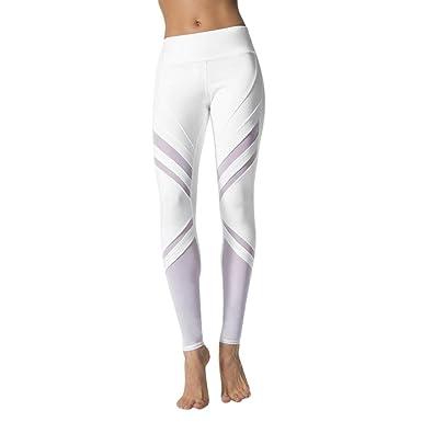 Elecenty Yoga Hosen Damen,Dünne Hosen Mesh Patchwork Fitnesshose Reizvolle  Training Yogahosen Leggings Sporthose Elastische 45f60ca8ce