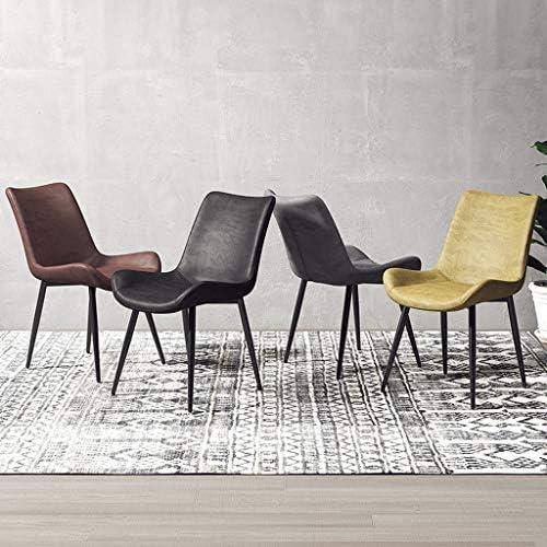 Amrai Chaise latérale de Loisirs - Chaise en métal assemblé et Chaise en Similicuir Jaune pour Salle à Manger Moderne pour Cuisine, Chambre à Coucher et Salon [Hauteur 83cm]