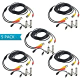 Flashmen Bnc Video Power Cable, 5Pack 25ft BNC Cables Heavy Duty Security Camera Wire Security Camera Cord For CCTV DVR Surveillance System Security Camera System (5 PACK)
