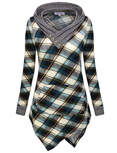 - Hoodie Shirts for Women,Womans Buffalo Plaid Hooded V Neck Vintage Long Sleeve Asymmetric Hemline Tunic Tops Versatile Hoodie Pullover Sweatshirt Prime Wardrobe Womens Clothing Black-Blue L