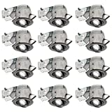 Nadair CP378L-GU12BN LED Recessed Lighting Swivel Spotlight Dimmable Downlight-IC Rated-3000K Warm White GU10 550 Lumens Bulbs (50 Watts Equivalent) Included, 4 inch, Brushed nickel, 12 Pack