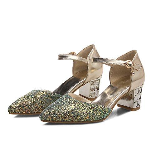 BalaMasa Womens Sandals Studded Huarache Urethane Sandals ASL04923 Gold muoBUH3