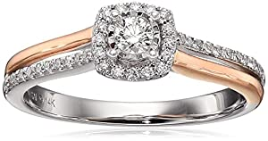 14k Pink and White Gold Diamond Cushion Ring (1/4cttw, H-I Color, I2 Clarity), Size 7