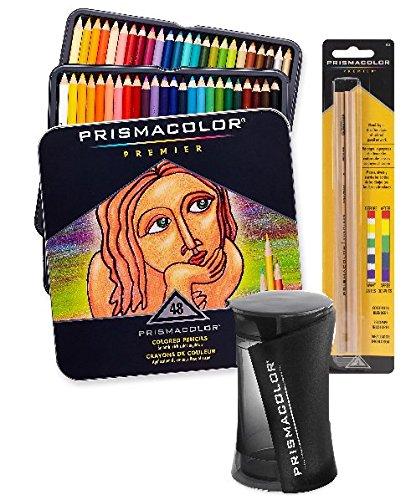 Prismacolor Premier Soft Core Colored Pencil, Set of 48 Assorted Colors with Prismacolor Premier Pencil Sharpener and Prismacolor Blender Pencil Colorless, 2-pack by Prismacolor
