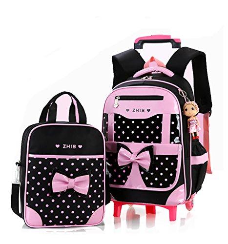 Meetbelify Rolling Backpacks For Girls School Bags Trolley Handbag With Lunch Bag Six Wheels Black