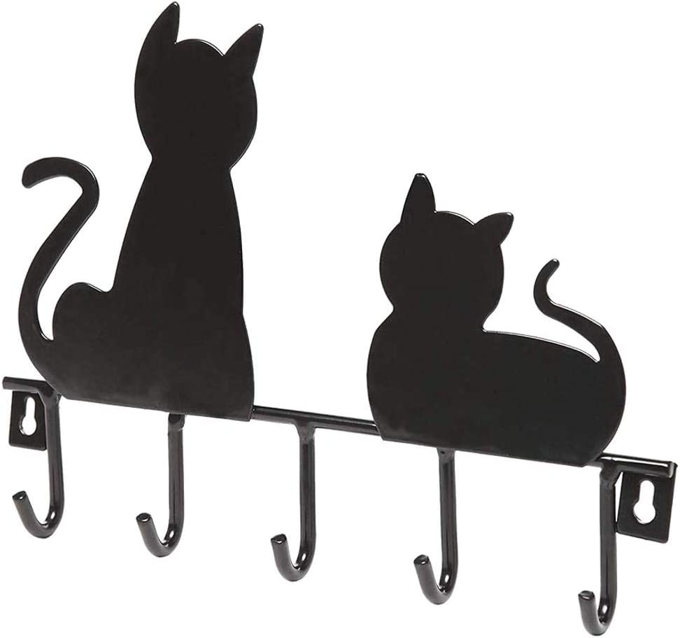 Nero CLTYQ Attaccapanni Disegno del Gatto Robe Decorativi Hanger Appendiabiti a Muro Rack casa Parete Decorazioni