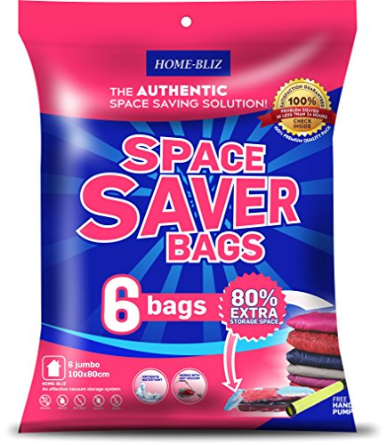 Home-Bliz Vacuum Storage Bags (6pack 40 x 30 Inches) Premium Reusable Space Saver Compression Sealer Bags Jumbo Extra Large XL size for clothing bedding blankets!+ FREE Hand-Pump for Trave