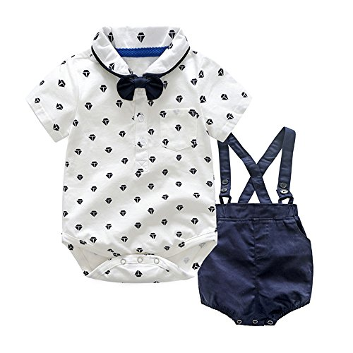 XIRUBABY Bodysuit and Pant Set for Baby 3Pcs Onesie with Bowtie and Suspender Strap Shorts (90/12-18 Months)