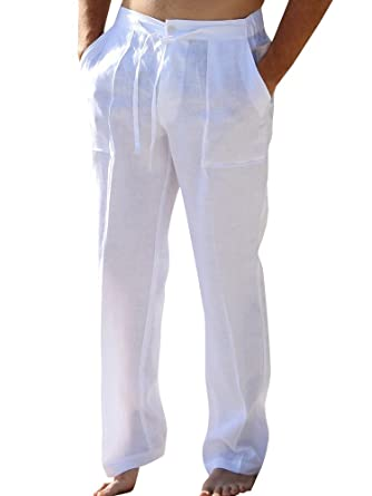 fa797728b6 Mens Linen Pants Beach Palazzo Casual Loose Fit Work Elastic Waist  Drawstring Cargo Trousers with Pockets
