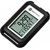 OZO Fitness SC 3D Digital Pedometer | Best Pedometer for Walking. Track Steps & Miles, Calories & Activity Time. Clip on Step Counter for Men, Women & Kids (Lanyard included) (Black)
