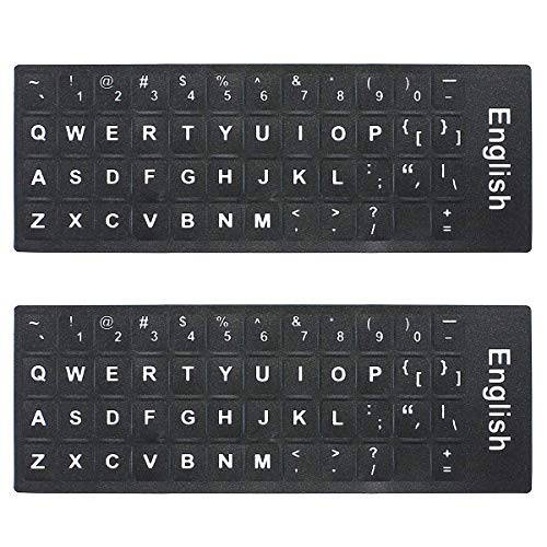 ac96cfd9f8a Mosiso [2PCS Pack] Universal English Keyboard Stickers, Replacement Typing  Keyboard Skin Black Background