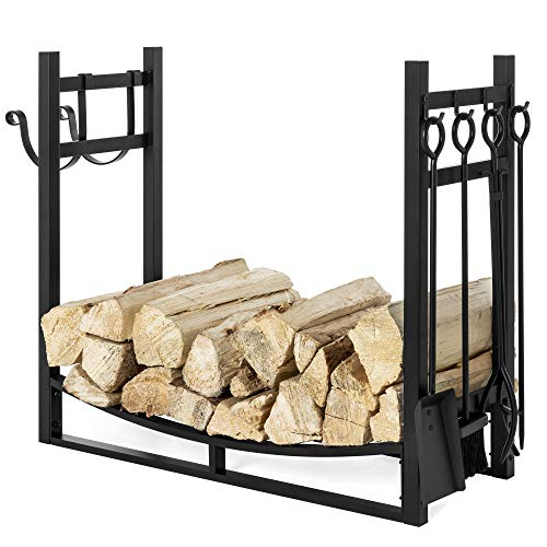 Best Choice Products 43.5in Steel Firewood Log Storage Rack Accessory and Tools for Indoor/Outdoor Fire Pit, Fireplace w/Removable Kindling Holder, Shovel, Poker, Grabber, Brush ()