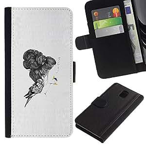 All Phone Most Case / Oferta Especial Cáscara Funda de cuero Monedero Cubierta de proteccion Caso / Wallet Case for Samsung Galaxy Note 3 III // Emo Bird Deep Sad Pencil Art Drawing