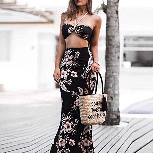 Willow S Women 2019 Fashion Casual Floral Prints Bandage Bra Top Shirt Blouse Long Skirts 2PCS Set Black ()