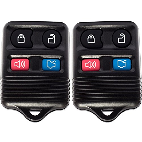 Keyless Entry Remote (Pack of 2) 4 Button Control with Chip and Battery - Alarm, Trunk, Lock and Unlock Key Fob Clicker Transmitter 2002 Alarm