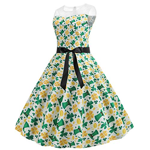 YKARITIANNA Womens ST Patrick's Day Costume Vintage Floral Swing Cocktail Dress -