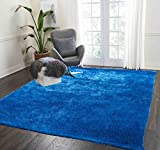 Cozy Fluffy Fuzzy Plush Solid Soft Shaggy Shag Rug Throw Modern Contemporary Decorative Designer Living Room Bedroom Indoor Large 5×7 Electro Blue Two Tone Color Sale Cheap ( Aroma Electro Blue ) Review