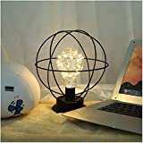 Retro Cage Table Lamp, Industrial Led Metal Shade Accent Light Battery-Operated Black Desk Lamp Globe/Diamond Light for Bedroom Wedding Christmas Home Decoration US Stock (Globe)