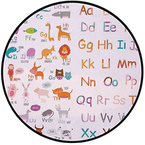 Printing Round Rug,Kids Animal,Colorful Alphabet Zoo Letters Learn to Read Mr.Bear Tiger Iguana Monkey Unicorn Ant Print Mat Non-Slip Soft Entrance Mat Door Floor Rug Area Rug For Chair Living Room,