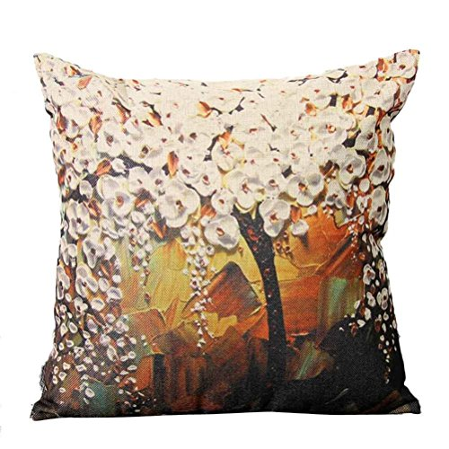 Ninasill Oil Painting Pillow Case Big Tree Pillow Case 45cm45cm Pillow Case (Beige)