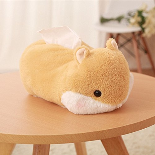 Cute Plush Tissue Box Cover Hamster Paper Towel Container Napkins Storage Holder Tissue Case Home Decor for Office Car ()