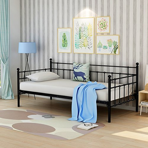 - Daybed Frame with Headboard Steel Support Slats Box Spring Replacement Twin Size Black