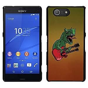 // PHONE CASE GIFT // Duro Estuche protector PC Cáscara Plástico Carcasa Funda Hard Protective Case for Sony Xperia Z3 Compact / Dinosaur Rock Music Guitar Monster Art /