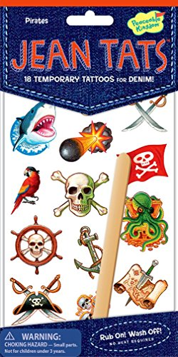 Make Your Own Pirate Ship Activity (Peaceable Kingdom Jean Tats Pirates Temporary Tattoos for Fabric)