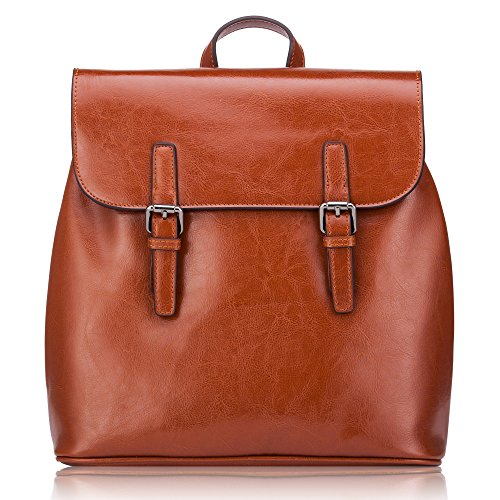 Women' s Genuine Leather Small Backpack School Bag Travelling Bag Made of Oiled Cow Leather With Vintage Design by KEEPBLANCE