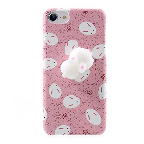 iphone 5/5S Squishy Animals Case,Polar Bear Cat Chicken Fashion Cute 3D Soft Silicone Relax Poke Squishy Toys Animals Case for Apple iphone 5/5S (Rabbit Pink) ()