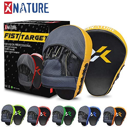 - Xnature Essential Curved Boxing MMA Punching Mitts Boxing Pads w/Gift Box Hook & Jab Pads MMA Target Focus Punching Mitts Thai Strike Kick Shield