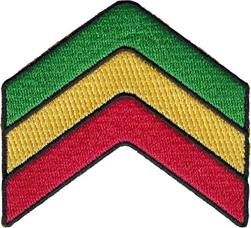 - Military Chevron - Reggae and Rasta Red, Yellow, Green, Logo Patch