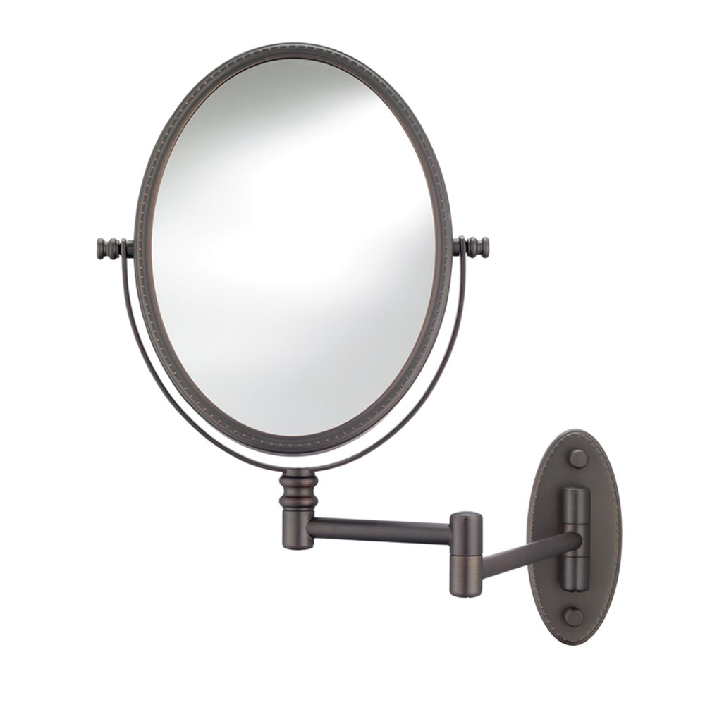 Conair Beaded Oval Wall Mount Mirror in Oil Rubbed Bronze with 1X 7X Magnification