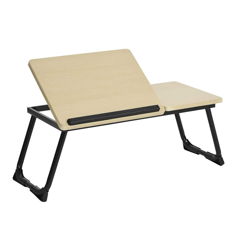 FurnitureR Laptop Desk Adjustable Foldable Portable Breakfast Table Serving Bed Tray with Tilting Top (Beech White)